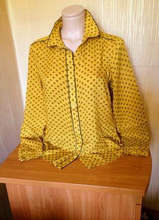 Натуральная легкая стильная рубашка, блузка горчичного цвета в принт. р.10. next