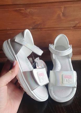 Кожаные босоножки, белые босоножки, босоножки для девочки, обувь для девочки