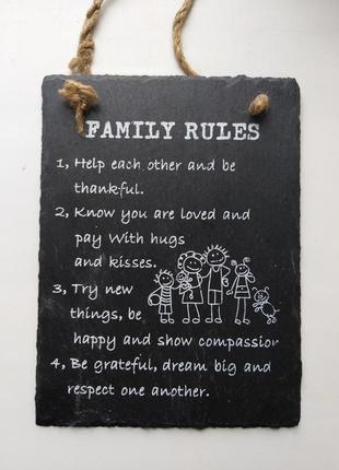 """Керамический декор панно """"семейные правила / family rules"""" на английском"""