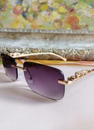 Эксклюзивные брендовые безоправные солнцезащитные очки с леопардом на дужке