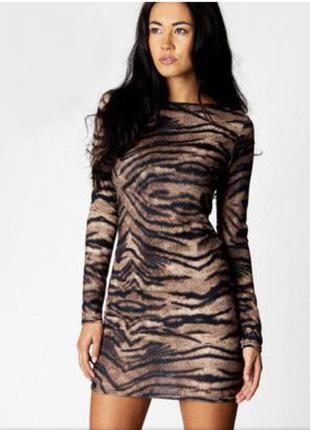 Платье принт сафари по фигуре с длинным рукавом xs xxs