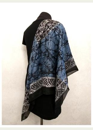 Шёлковый шелковый платок косынка синий чёрный