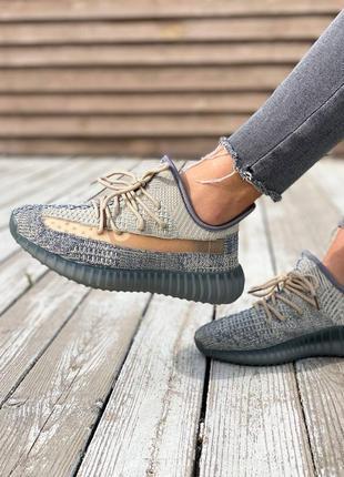 Легкие спортивные кроссовки кеды демисезонные adidas yeezy 350 серые текстильные