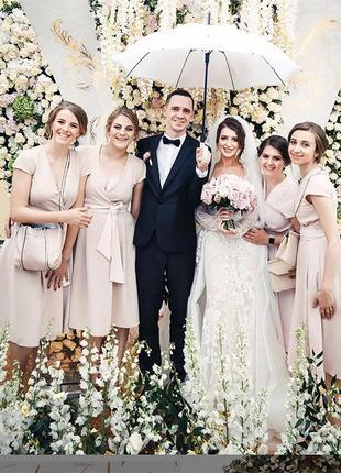 Пудрова сукня 3 шт літнє вечірнє плаття для дружки дружок подружек невесты вечернее летнее платье