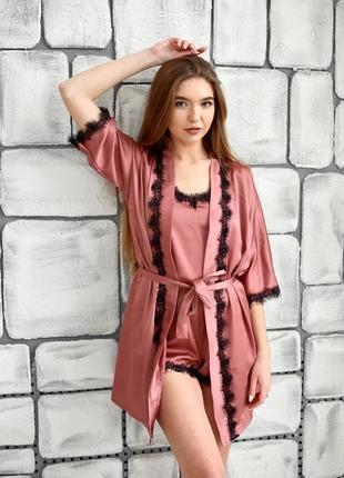 Шелковый комплект 3ка с кружевом халат майка шорты темная пудра