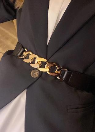 Ремень пояс чёрный цепь золото на резинке s- m кожзам