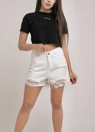 Новые белые шорты высокая талия