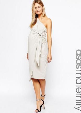 Платье-футляр миди для беременных на одно плечо с драпировкой asos maternity