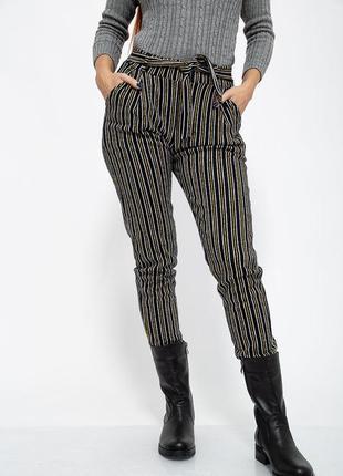 Женские повседневные штаны брюки черные в цветную полоску с поясом карманами