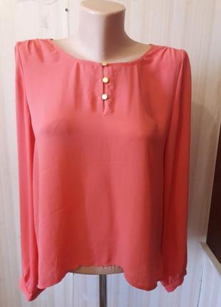 Розовая нежная шифоновая стильная блузочка от forever 21