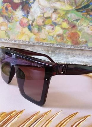 Эксклюзивные брендовые коричневые солнцезащитные очки маска унисекс