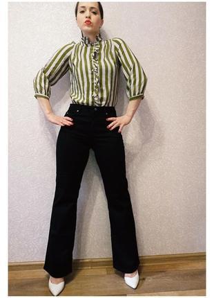 Джинсы черные стрейч клеш тренд от yessica брюки