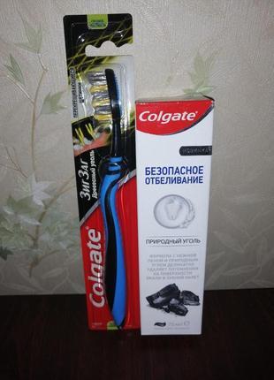 Набор паста и зубная щетка древесный уголь colgate