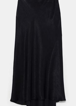 Черная юбка миди сатин тренд zara2 фото