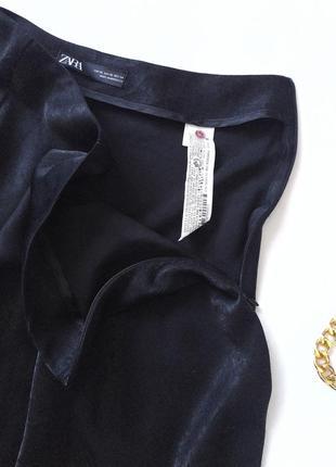 Черная юбка миди сатин тренд zara7 фото
