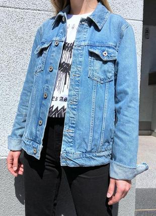 Светлая джинсовая куртка джинсовка оверсайз
