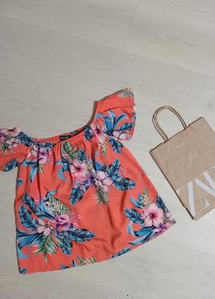 Шикарная коралловая блуза майка цветочный принт