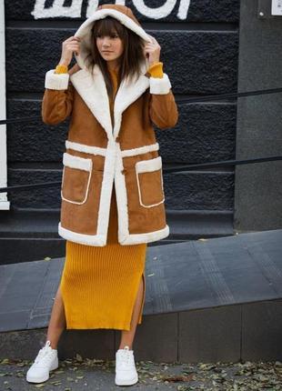 Пальто с капюшоном искусственный мех дубленка