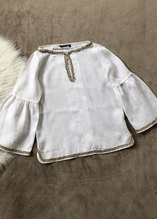 Женская шикарная льняная блуза рубашка вышиванка с объёмными рукавами massimo dutti