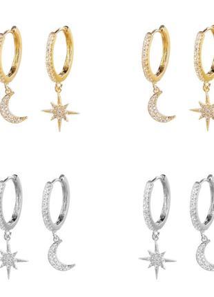 Серьги серьги сережки подвеска звезда луна серебро кольца фианит золото зірка місяць