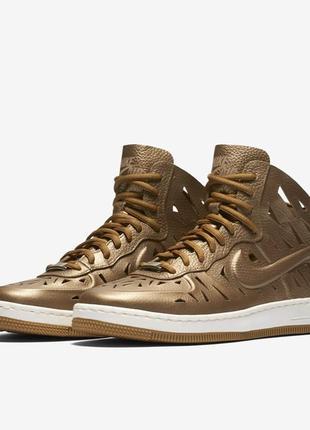 Новые кроссовки nike air force кожа золотые оригинал найк форсы кожаные найки