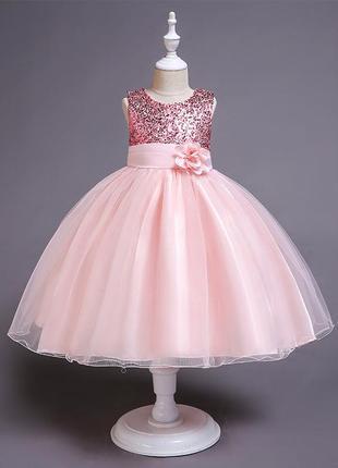 Нарядное розовое детское платье-принцесса с пайетками и розой 5-6-7 лет
