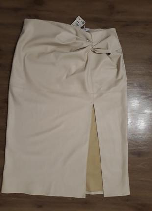 Стильная женская миди юбка из качественной эко кожи, с разрезом