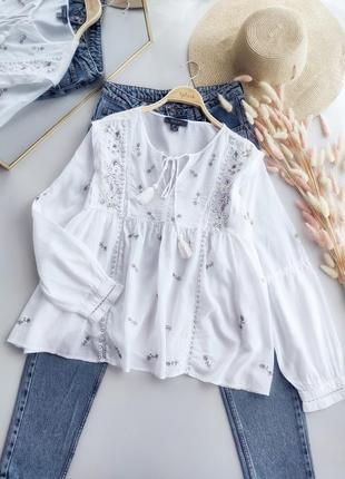 Натуральная, лёгкая, очень красивая рубашка с элементами вышивки