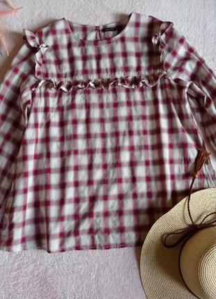 Тончайшая нежная блуза в клетку от шведского бренда