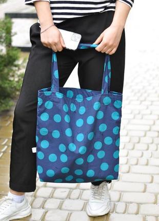 Бавовняний шопер в горох сумка в горошок екосумка шоппер в горошек экосумка