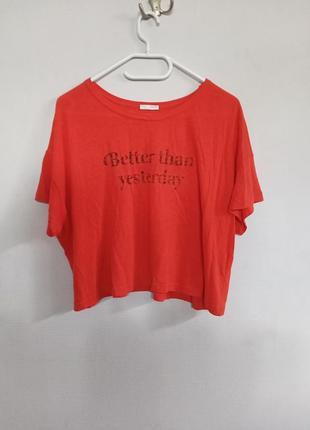 Оверсайз футболка с надписью зара