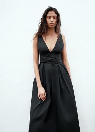 Чорна сукня-міді limited edition з бантом-зав'язкою, zara! оригінал, з португалії!