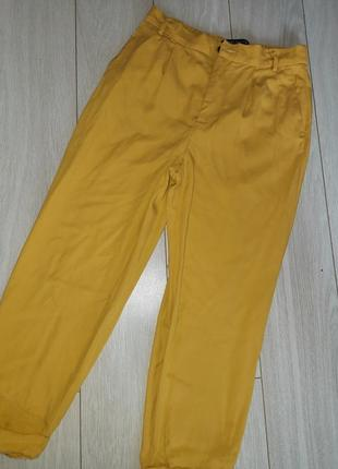 Стильные горчичные  брюки из лиоцела