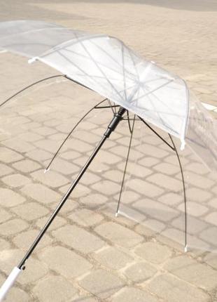 Прозрачный зонт зонтик для фотосессий / черная белая ручка / 16 спиц / парасоля