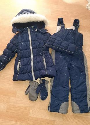 Зимний комплект chicco flurry, 104 (куртка,  полукомбинезон, краги)