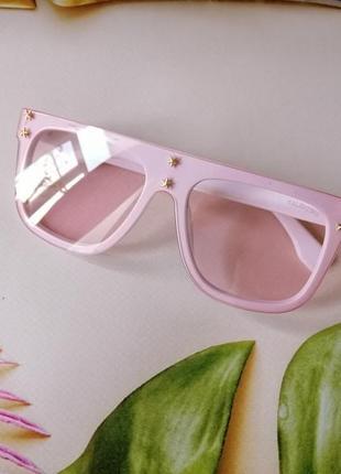 Эксклюзивные брендовые белые с розовыми линзами очки маска