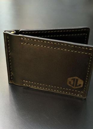 Зажим для купюр, кошелек, гаманець, кожа