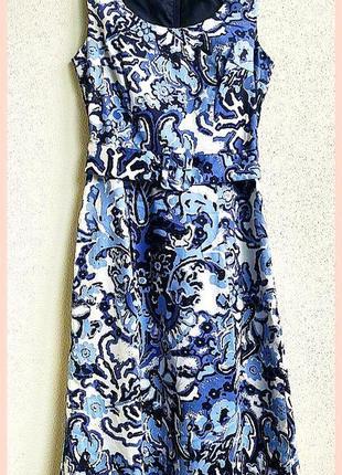Новое яркое платье миди сарафан голубое с принтом коттоновое h&m
