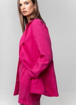 Пиджак фуксия розовый малиновый пиджак льняной жакет блейзер кардиган из льна