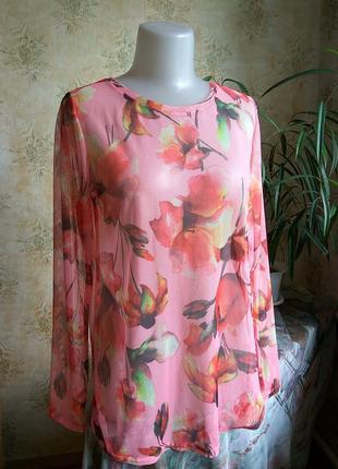 Vrs-дания блуза крупные цветы прозрачная трикотаж сетка сеточка