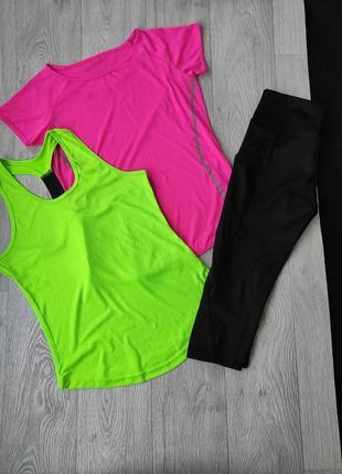 Лот пакет вещей костюм для тренировок фитнеса и йоги футболка  майка шорты