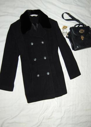 Стильное черное пальто бойфренд