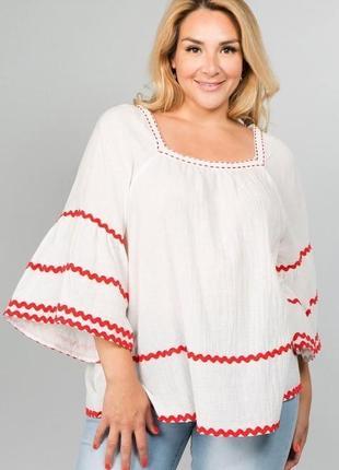 Блуза реглан,вышиванка вышивка тесьмой,этно,бохо стиль,хлопок,большой размер monsoon