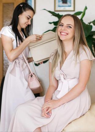 Пудрова літня сукня 3 шт плаття на запах міді д дружки подружек невесты нарядное летнее платье миди