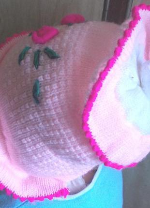 Шапочка двойная вязка, красивая вышивка, ог 46-48 см