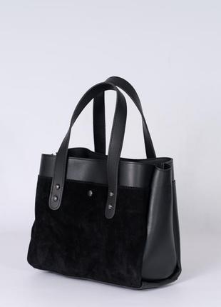 Замшевая деловая женская сумка с ручками и ремешком три отделения