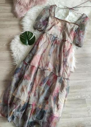 Сетчатое платье h&m с пышными рукавами