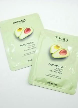 Маска для лица с экстрактом авокадо bioaqua niacinome hydrating shea mask
