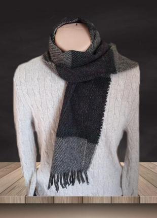 ⛄⛄100% shetland натуральная шерсть теплый мужской шарф с бахромой⛄⛄2 фото