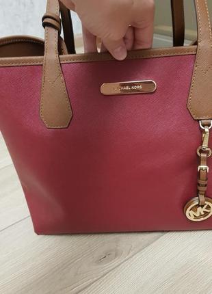 Кожаная сумка michael kors 3в1 шоппер оригинал, двухстороння сумка michael kors